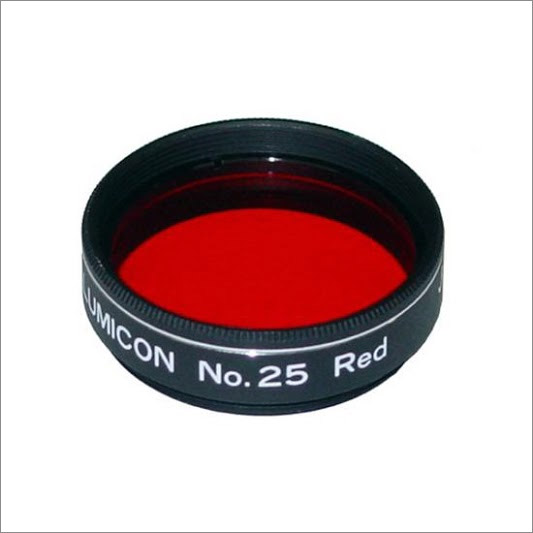 A #25 Wratten filter threaded for a 1.25-inch eyepiece