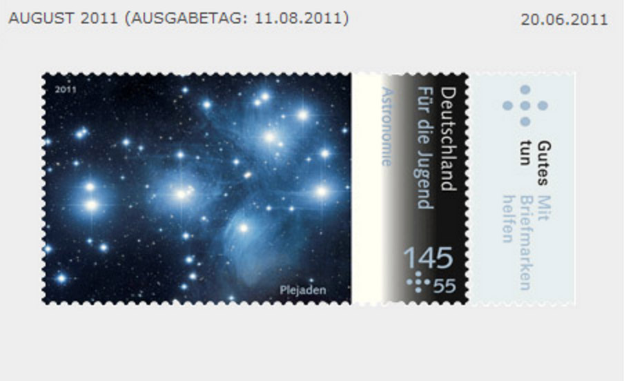 Image of the Pleiades on a German stamp