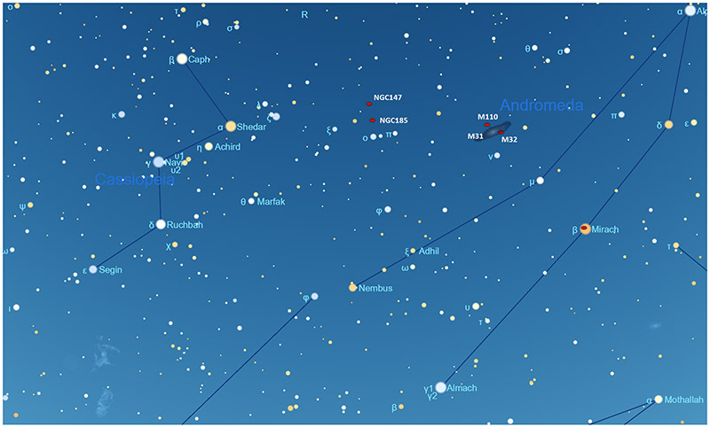 Sky Tour NGC 147 and NGC 185